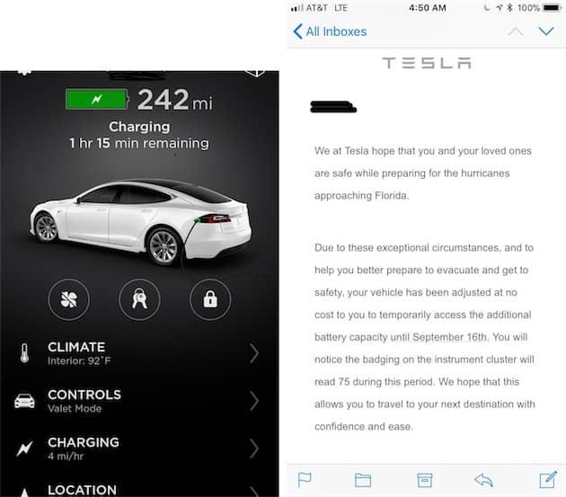 Une Model S 60 Kwh qui affiche une estimation d'autonomie d'une version 75Kmw. À droite, le mail envoyé par Tesla aux conducteurs concernés. Cliquer pour agrandir