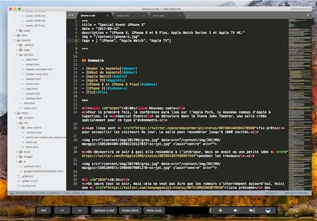 L'une des nombreuses nouveautés de SublimeText3.0: la prise en charge de la TouchBar. Elle permet essentiellement de passer d'un document ouvert à l'autre.Cliquer pour agrandir