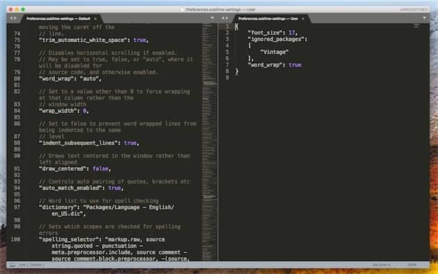 Sublime Text a toujours privilégié la flexibilité à la simplicité. Ici, les réglages de l'app: à gauche, les paramètres par défaut, à droite les paramètres de l'utilisateur. Cliquer pour agrandir