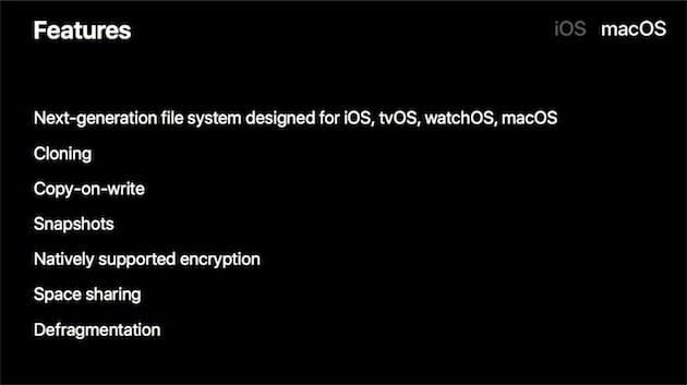 Clonage, instantanés, chiffrement… APFS est un système moderne adapté aux SSD des Mac récents et aux puces de mémoire flash des appareils mobiles d'Apple. Image Apple.
