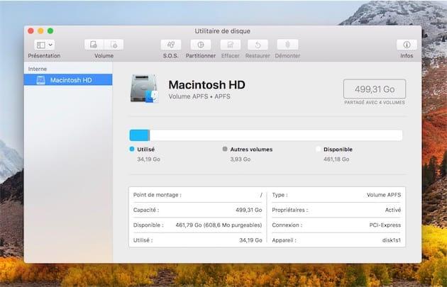Si votre Mac possède un SSD, il passera automatiquement à APFS lors de l'installation de macOS High Sierra.