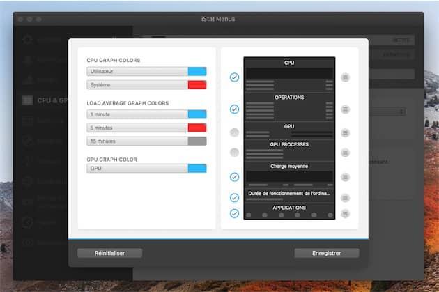 Tous les menus d'iStat Menus6 peuvent être modifiés. Ici, celui dédié au processeur, où l'on a décoché les deux données concernant la carte graphique. Cliquer pour agrandir