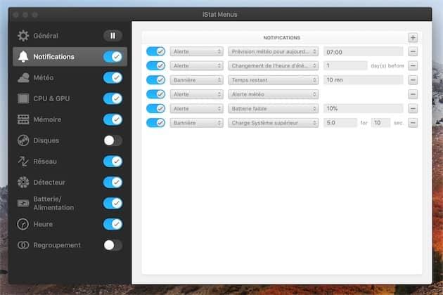 Réglage des notifications avec iStat Menus. Cliquer pour agrandir