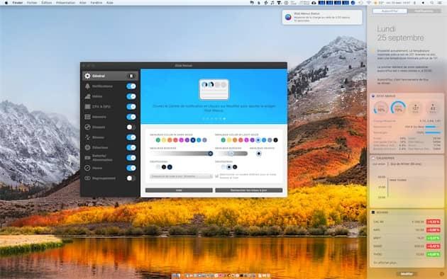 Le widget d'iStatMenus6 dans le centre de notifications de macOSHigh Sierra. Notez aussi la notification affichée par l'utilitaire, ici pour prévenir d'une utilisation continue du processeur. Cliquer pour agrandir