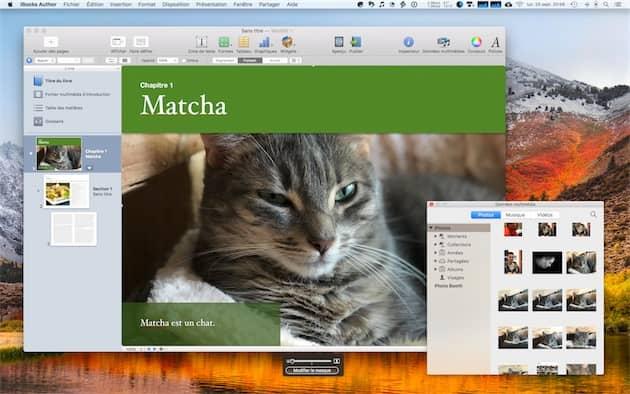 iBooksAuthor avec l'interface qui permet de piocher dans la photothèque de Photos en bas à droite. Cliquer pour agrandir