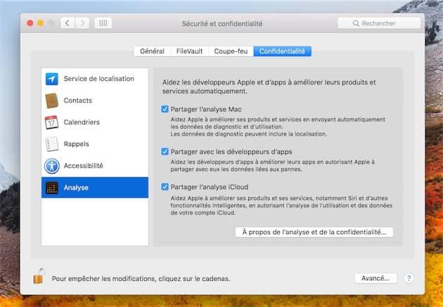 macOS dispose de réglages pour gérer le partage d'informations avec Apple. Dans le lot, il y aura désormais les informations transmises par Safari. Cliquer pour agrandir