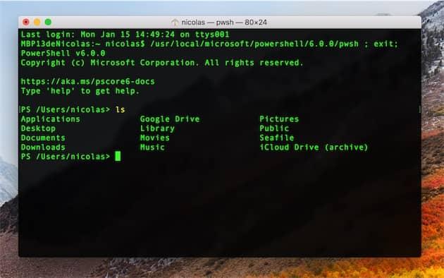 PowerShell depuis le Terminal de macOS. Cliquer pour agrandir