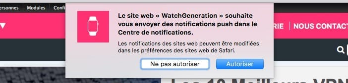 Le message vous proposant de vous abonner aux notifications, ici dans Safari.
