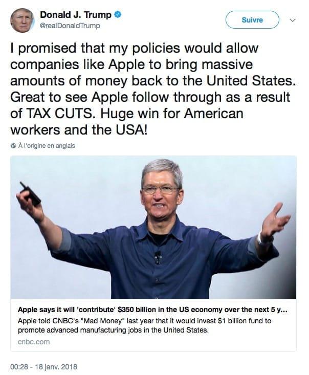 Donald Trump Est Ravi De L'investissement D'Apple Aux