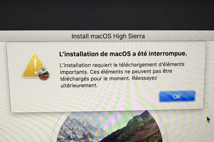 L'installation de macOSHigh Sierra bloque chez plusieurs utilisateurs