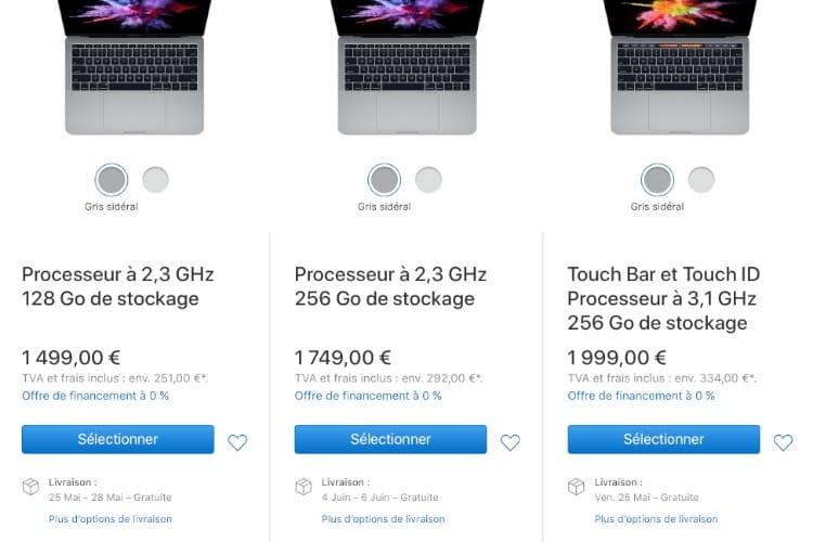 Un petit peu de délai sur les MacBook (Pro) personnalisés
