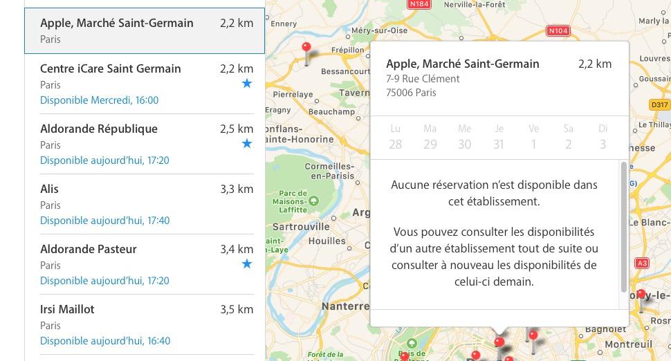 904cc605ec Ce début de semaine, pas de RDV possible sur les 7 jours à venir au moins à  l'Apple Store de Saint-Germain, à Paris.