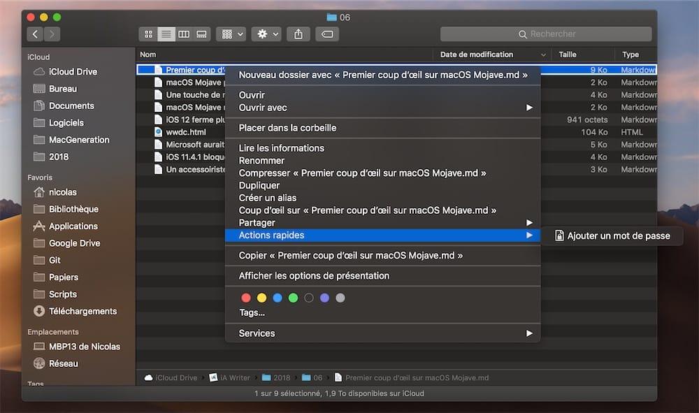 Parfois MacOS Mojave Na Aucune Action Rapide A Proposer Mais En General On Peut Au Moins Proteger Un Fichier Par Mot De Passe