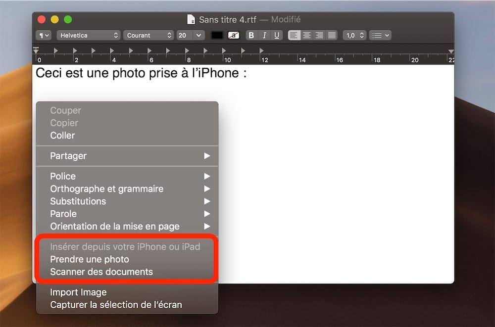 Extension Des Fonctions De Continuite Qui Rapprochent MacOS Et IOS On Peut Inserer Une Image Sur Son Mac En La Prenant Avec IPhone Ou IPad
