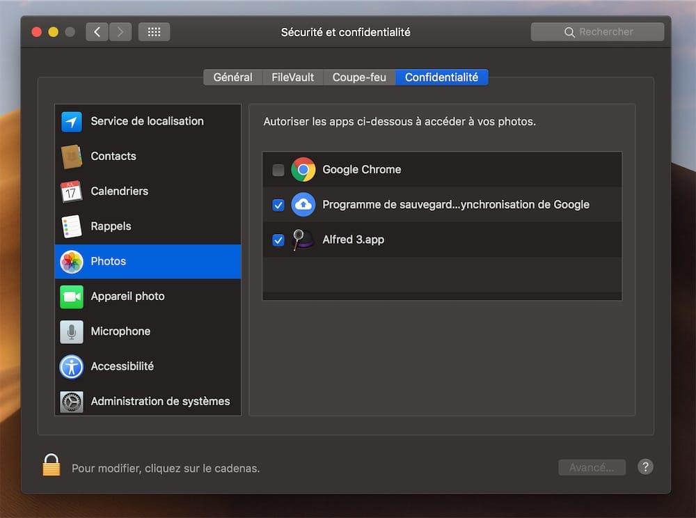 MacOS 1014 Entend Mieux Proteger Vos Donnees Et Verrouille Lacces A Plusieurs Elements Par Defaut Dont Les Photos La Webcam Aux