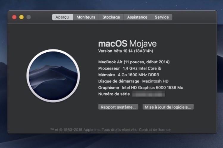 Le mode sombre de macOS Mojave se déploie un peu plus avec la bêta 2