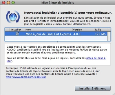 mise a jour final cut express 4.0.1
