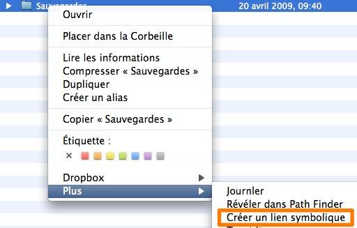 Dropbox - création liens symboliques